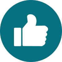 White icon of thumbs up